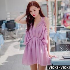 Vicki Vicki - Set: Frilled Bikini + Beach Cover Up Dress