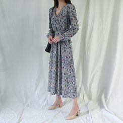 ATTYSTORY - Wrap-Front Floral Print Long Dress