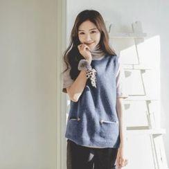 JUSTONE - Dual-Pocket Wool Blend Knit Vest