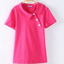 Raisin - Side Buttoned Short Sleeve Polo Shirt