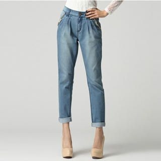 O.SA - Beaded Chain-Accent Pleated Jeans