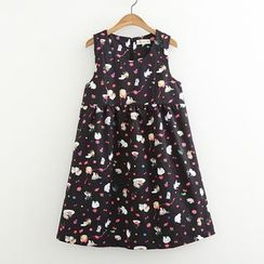 ninna nanna - Cat Print Sleeveless A-Line Dress