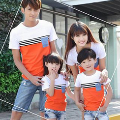 Igsoo - Parents and Kids Round-Neck Panel T-Shirt