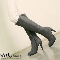 Wifky - Stiletto-Heel Faux-Suede Tall Boots