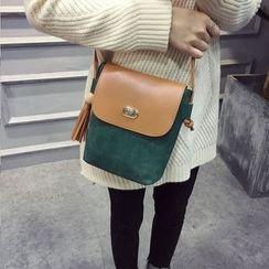 Vintage Kiss - Colour Block Tasseled Shoulder Bag
