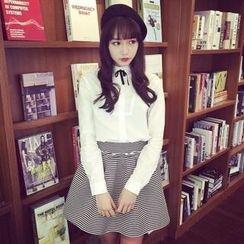 QZ Lady - Set: Tie-Neck Long-Sleeve Blouse + Striped A-Line Skirt