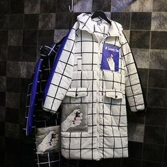 Jade Rabbit - Printed Check Hooded Puffer Coat