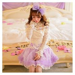 Candy Rain - Frilled Long-Sleeve Lace Top