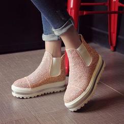 傾城 - 閃亮厚底切爾西靴子