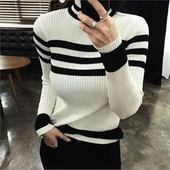 LIPHOP - Mock-Neck Stripe Ribbed Knit Top