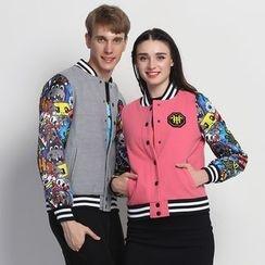 HappyTee - Printed-Sleeve Couple Baseball Jacket