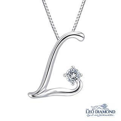 Leo Diamond - The Leo Diamond® Signature L-Shaped Collection - 18K White Gold Initial L Diamond Solitaire Pendant Necklace (16')
