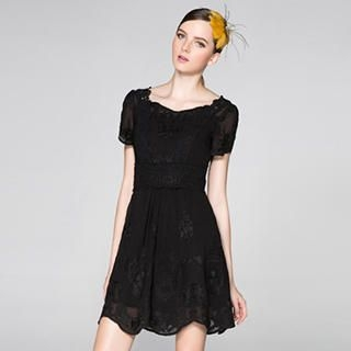 O.SA - Short-Sleeve Pleated Lace Dress