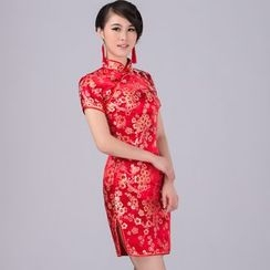Cypress - Flower Embroidered Short Sleeve Mini Qipao