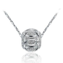 BELEC - White Gold Plated 925 Sterling Silver Transport Bead Pendant with 40cm Necklace