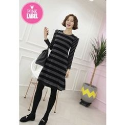 Lemite - Wool Blend Sharp-Shoulder Stripe Dress