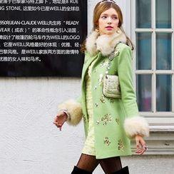 Dabuwawa - Furry-Trim Sequined Coat