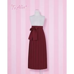 Cosgirl - Tie Waist Pleated Midi Skirt