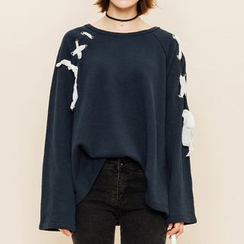 Heynew - Lace-Up Long Sleeve T-Shirt