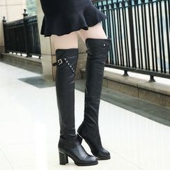 IYATO - Chunky-Heel Studded Over-The-Knee Boots