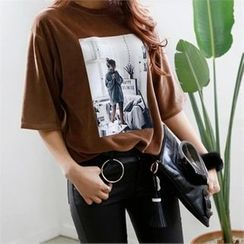 PEPER - Elbow-Sleeve Printed T-Shirt