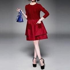 Alaroo - Knit Panel Mock Two-Piece Dress