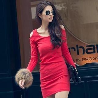 PUFII - Off-Shoulder Long-Sleeve Dress