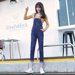 Hola - Cropped Slim-Fit Suspender Jeans