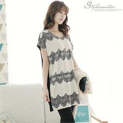 Stylementor - Lace-Printed Two-Tone Tunic