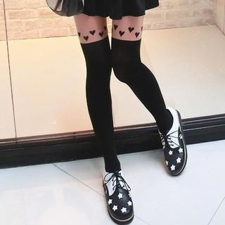 TAIPEI STAR - Two-Tone Heart-Print Tights