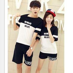 Lovebirds - Couple Short-Sleeve Paneled Lettering T-Shirt / Shorts