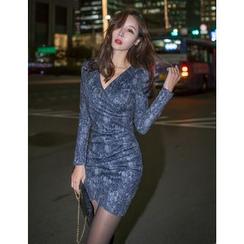 GUMZZI - Wrap-Front Shirred Lace Bodycon Dress