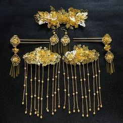 First Impression - Bridal Set: Hair Stick + Hair Comb + Earrings