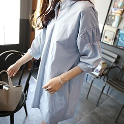 Athena - 3/4-Sleeve Plain Long Blouse