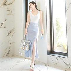 Attrangs - Slit-Side Stripe Maxi Skirt