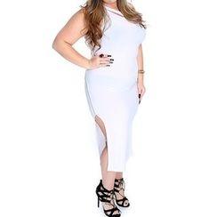 Dream a Dream - Sleeveless Slit Sheath Midi Dress