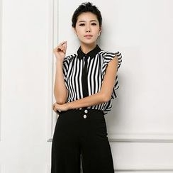 Aision - Flutter-Sleeve Striped Chiffon Blouse