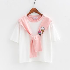 Sunny Day - Ice-cream Embroidered Mock Two Piece T-Shirt