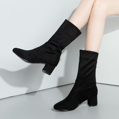 Pretty in Boots - Block Heel Mid-Calf Boots