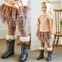 LILIPURRI - Girls Inset Tulle Skirt Fleece-Lined Leggings
