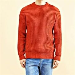 THE COVER - Crew-Neck Chunky-Knit Sweater
