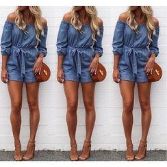 Blue Tune - 露肩七分袖牛仔连衣短裤