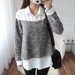 CYNTHIA - Mélange Knit Panel Chiffon Shirt