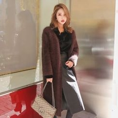 PPGIRL - Open-Front Furry-Knit Long Cardigan