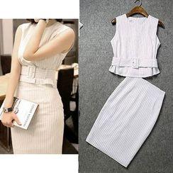 Yilda - Set: Sleeveless Striped Top + Skirt