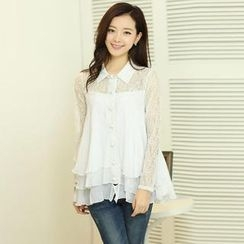 AiSun - Lace-Panel Chiffon Blouse
