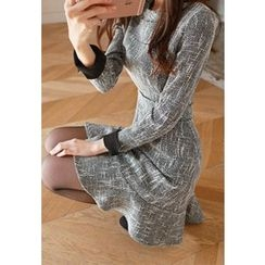 MyFiona - Contrast-Cuff Ruffle-Hem A-Line Dress