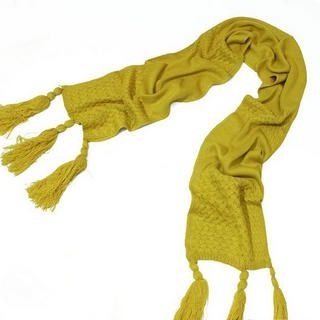 Ando Store - Woven-Panel Tassel-Accent Knit Scarf