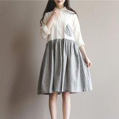Snow Flower - Pinstriped Midi Shirtdress