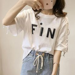 lilygirl - Lettering Lace Up Side Elbow Sleeve T-Shirt